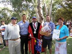 2010 0126 Australia Day    (18) Pat Mells, Australia Day Ambassador Geoff Huegill, Mayor Brian Sambell. x, and Sigrid Murljacic