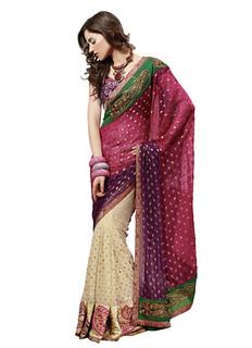 Mahotsav Cream And Pink Net Party Wear Saree Sarees on Shimply.com