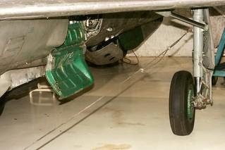 MiG 21 port main gear leg, wheel, well, doors, Lone Star Flight Museum, Galveston Texas  2002_8_AI_3_00A