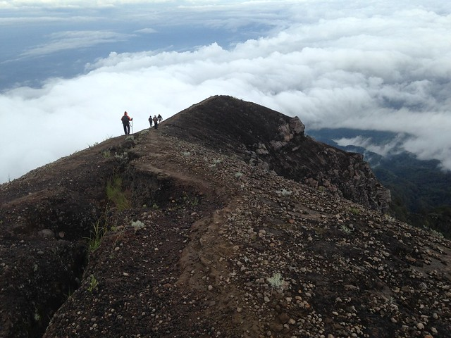 Walking back from the summit of Mount Agung, Bali, Indonesia