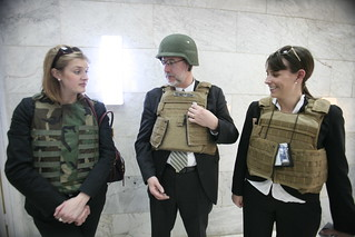 David Addington, Lucy Tutwiler, and Katie Wilson Wearing Body Armor at Hakim Compound in Red Zone, Baghdad