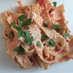 Pappardelle with vodka cream sauce