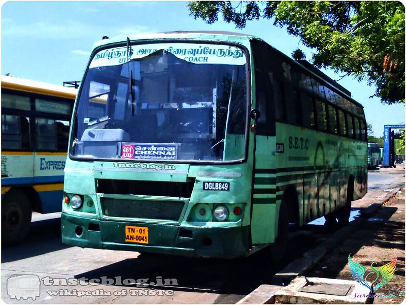TN-01AN-0045 DGL B 849 of Dindigul Depot Route 461 UD Kodaikanal - Chennai via Batlagundu, Dindigul, Trichy.