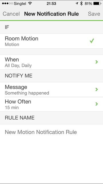 WeMo iOS App - New Notification Rule