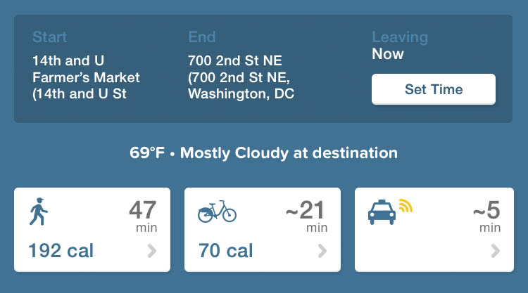 Comparison of walking and bicycling in Washington DC 0976