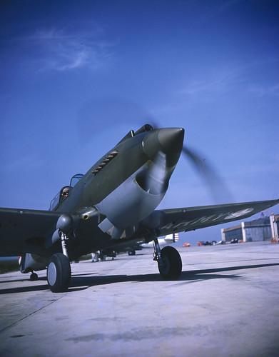Curtiss P-40 Warhawk  near the hangars aviation company Curtiss at Buffalo NY 1940 photo by Rudy Arnold