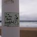 Mensaje en la playa de la Zurriola de Donostia