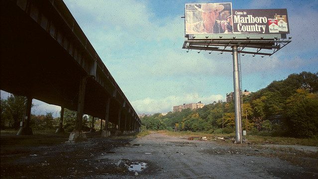 Welcome to Marlboro Country under the West Side Highway by 150th Street. An urban jungle back then. Today it's home to one of the world's largest sewage processing plants between the highway and the Hudson River to the left. New York. Sept 1979.