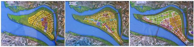 社子島3項初步方案(左運河社子島、中生態社子島、右咱的社子島)。翻攝:陳文姿。