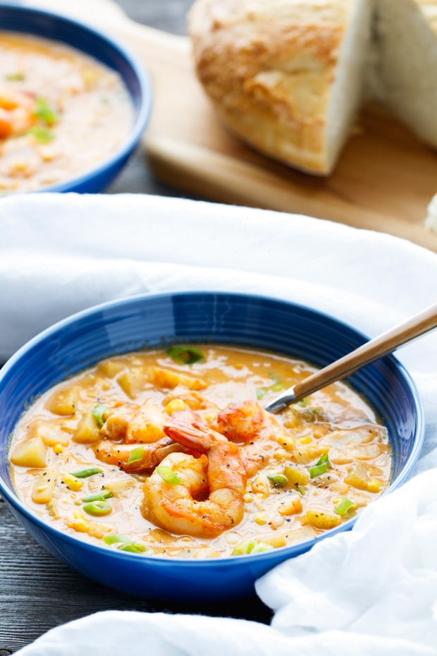 Shrimp and Corn Chowder - loaded with potatoes and lots of flavor - this chowder is perfect with lots of crusty bread! #chowder #shrimpchowder #cornchowder #shrimpandcornchowder   Littlespicejar.com