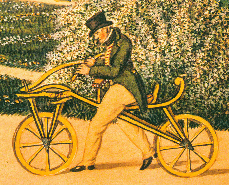 Karl von Drais riding his draisine