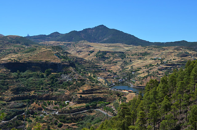 View of lakes and Roque Nublo from Tamadaba, Gran Canaria