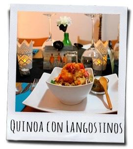 Quinoa met knapperige mediterrane groenten en gepaneerde scampi's