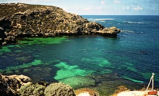 November 1993 - Snorkellers at Fish Hook Bay, Rottnest Island, Western Australia, Australia