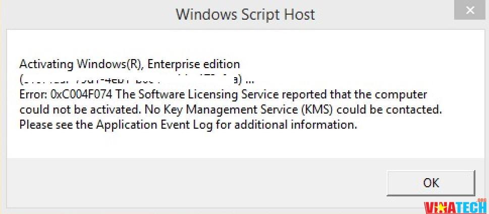 Khắc phục lỗi mã '0xc004f074' khi kích hoạt key Windows