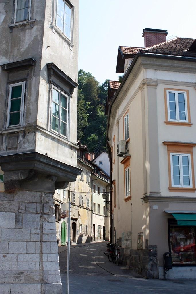 Ljubljana Slovenia street leading to Castle Trail