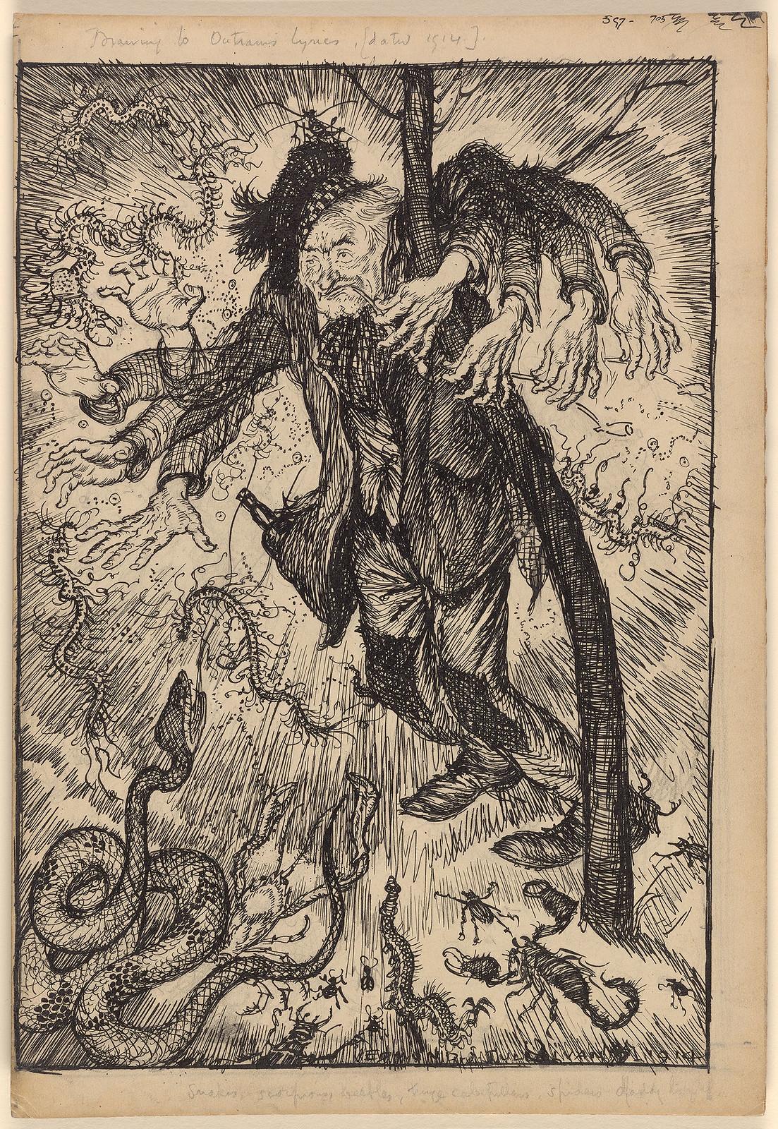 Edmund Joseph Sullivan - Drunkard Beset by Vermin, 1914