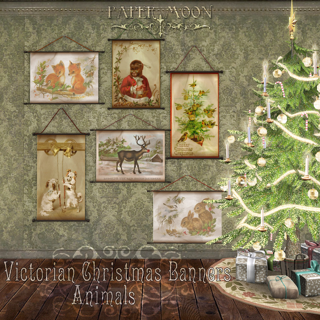 *pm* Victorian Christmas Banners - Animals - SecondLifeHub.com