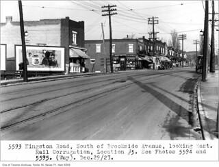 Kingston Road, south of Brookside Avenue, looking east