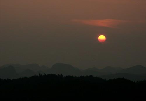china guizhou karst landscape scenery sunset travel