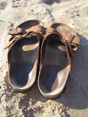 outdoor shoe(0.0), shoe(0.0), leather(0.0), limb(0.0), leg(0.0), ballet flat(0.0), brown(1.0), footwear(1.0), sandal(1.0),