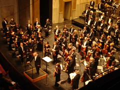audience(0.0), choir(1.0), classical music(1.0), musician(1.0), orchestra(1.0), musical ensemble(1.0), orchestra pit(1.0), concert(1.0), performance(1.0), person(1.0),