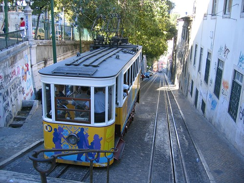 The Rua Gloria tram in Lisbon