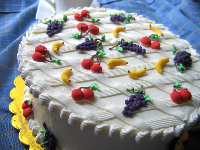 Decorating A Fruit Cake With Fondant