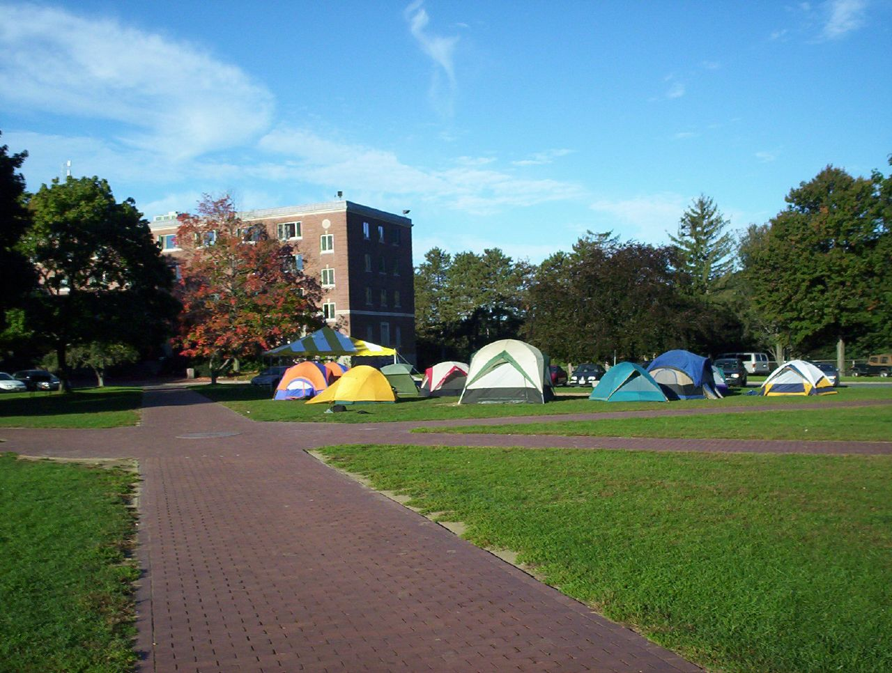 Theta Chi Camping on the Quad