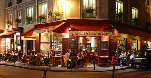 Paris bistro at night, Marais district (source:  Ted Drake)