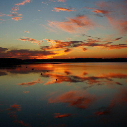 blue autumn sunset sky orange sun lake reflection 20d nature topv111 azul clouds 1025fav skyscape evening noche nc otoño naranja 2470l circular chathamcounty jordanlake diamondclassphotographer flickrdiamond img6529 beverrettjordanlake