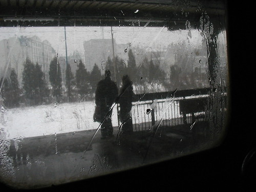 romantic fiancés in station