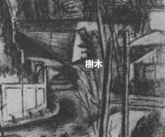 村山槐多「某侯爵邸遠望(某公爵家遠望)」(1919) 部分注釈付き