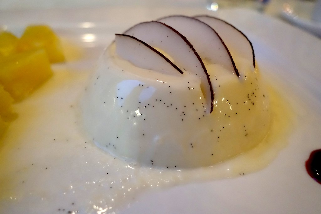 Russell's Restaurant - Coconut & Malibu Pannacotta Topped with Toasted Coconut, Sweet Candied Pineapple