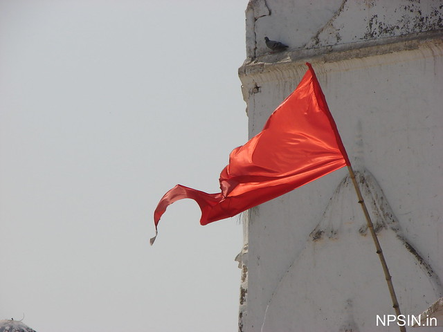 Flag showing the stability and continuity of Baba Bateshwarnath Dham