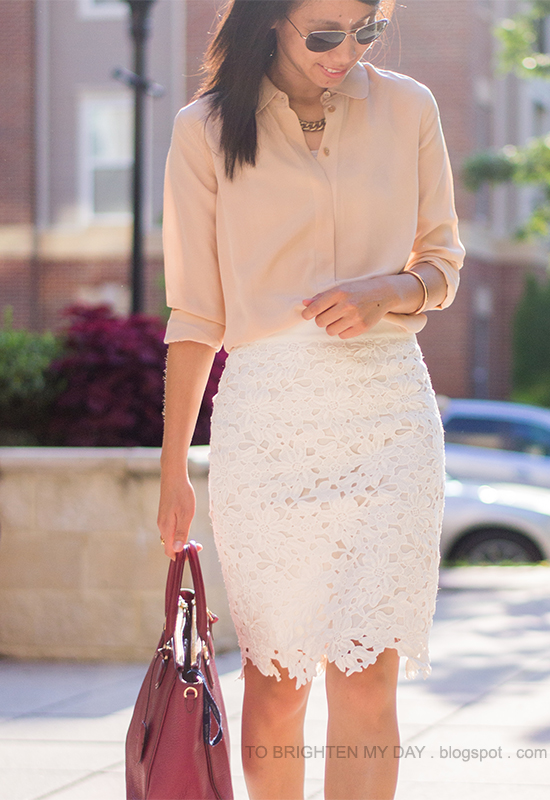 peach silk button up shirt, white lace pencil skirt, purple red tote