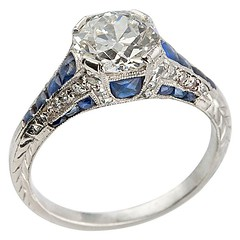 Art Deco sapphire engagement ring Craig Evan Small