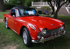 race car, automobile, vehicle, triumph tr250, triumph tr5, triumph tr4, antique car, classic car, vintage car, land vehicle, convertible, sports car,