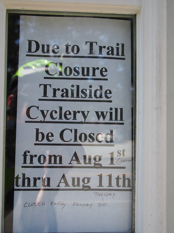 Trailside Cyclery Temporarily Closed: Due to the construction cutting business for the duration, the owner closed the shop for less than a couple weeks.