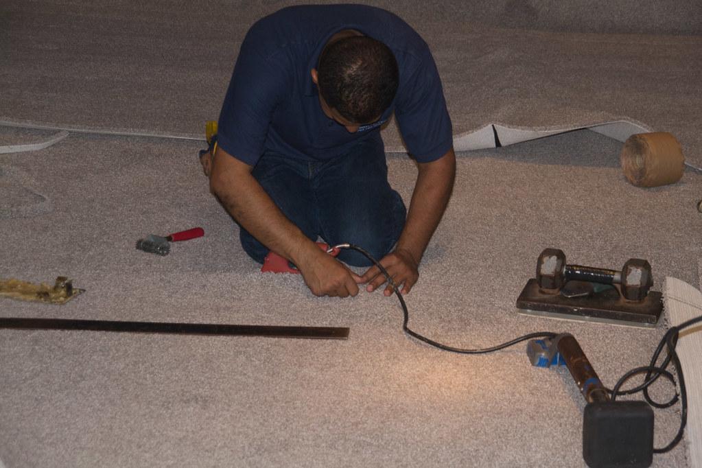 Carpet installation in basement