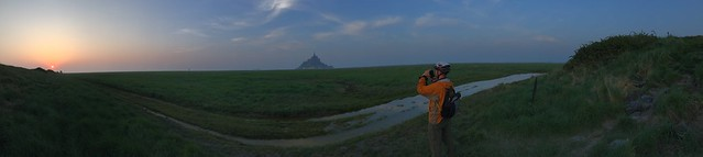Panorama of Alan taking photos at sunset