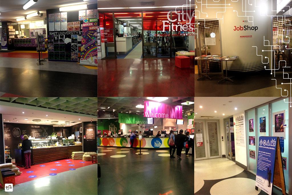 Da esquerda para a direita, de cima para baixo 1) RUSU - Espaço do diretório acadêmico 2) Academia 3) Orientação para estágio 4) Café (um dos muitos) 5) The Hub (funciona como um Centro de Informação) 6) RMITv | Fernanda Zanette | Austrália
