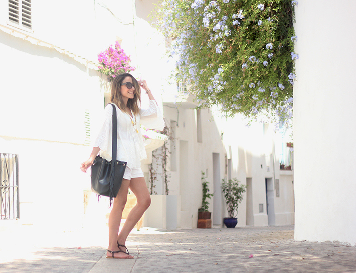 White top with shorts summer outfit Ibiza16