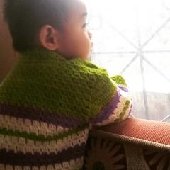 It's a rainy Saturday morning#babyJJ #crochet #crochetjacket #stripes