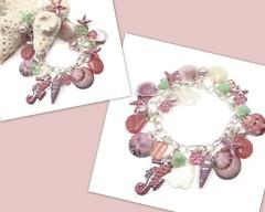 Salmon Pink & Mint Shell Bracelet