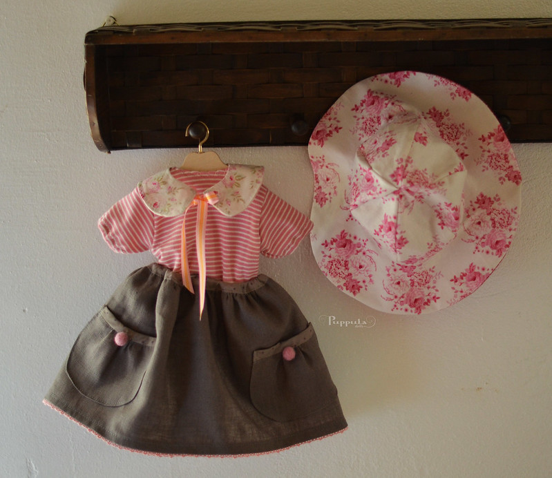 Pretty  pinks with grey, outfit for a 17/18inch doll