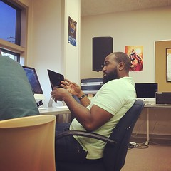PC (@pmusic) working with a student in our #FreedomSchool production class at #StadiumView School / Hennepin County Juvenile Justice Center   #literacy #hiphop #education #amplifiedlife