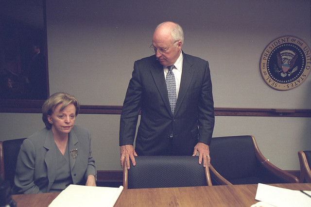 Vice President Cheney and Lynne Cheney in the President's Emergency Operations Center (PEOC)