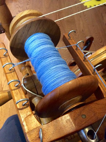 Targhee handdyed wool on Watson Martha spinning wheel