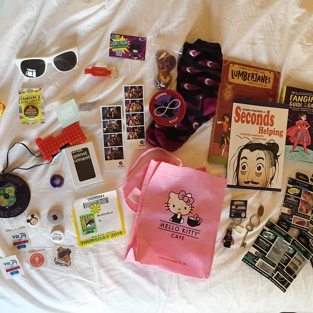 So much #sdcc swag! Not as much as previous years but I'm trying to be picky with what I grab/buy. 💸